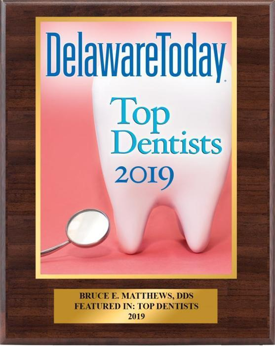 Delaware Today Top Dentist in 2019 Award for Bruce Matthews DDS PA