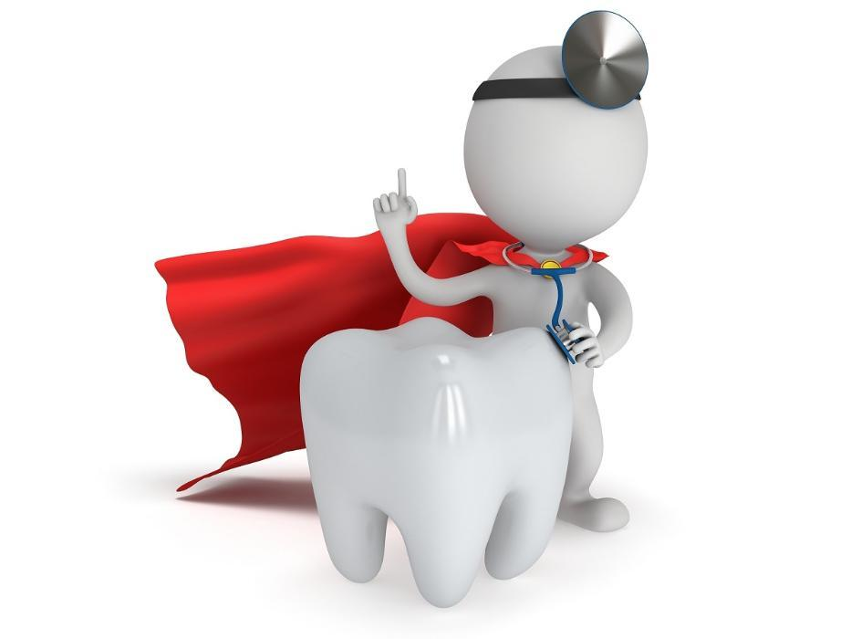 Cartoon emergency dentist in Wilmington with a tooth